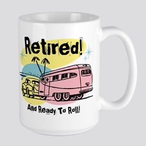 Retro Trailer Retired Large Mug