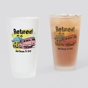 Retro Trailer Retired Drinking Glass