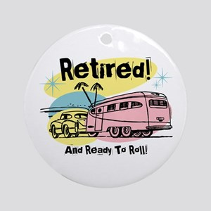 Retro Trailer Retired Ornament (Round)
