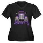 Trucker Sherry Women's Plus Size V-Neck Dark T-Shi