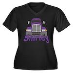 Trucker Shirley Women's Plus Size V-Neck Dark T-Sh