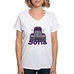 Trucker Sofia Women's V-Neck T-Shirt