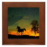 AFTM Old Black Stallion At Sunrise Framed Tile