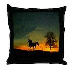 AFTM Old Black Stallion At Sunrise Throw Pillow
