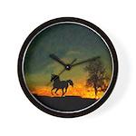 AFTM Old Black Stallion At Sunrise Wall Clock