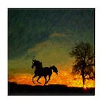 AFTM Old Black Stallion At Sunrise Tile Coaster