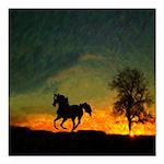 AFTM Old Black Stallion At Sunrise Square Car Magn