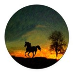 AFTM Old Black Stallion At Sunrise Round Car Magne