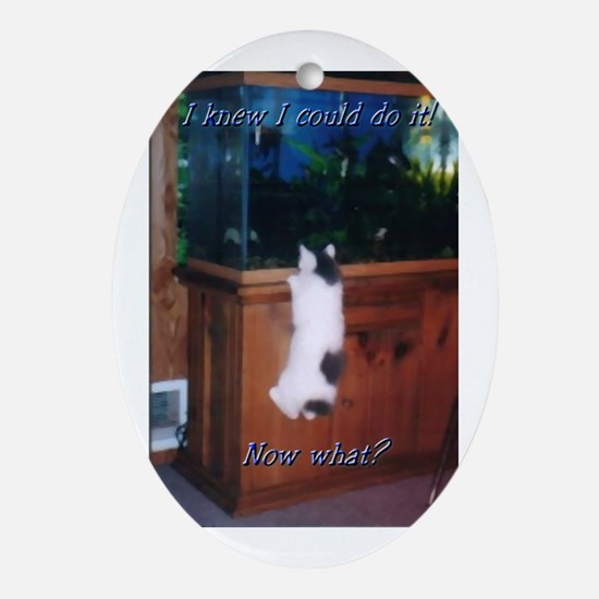 Manx kitten with fish tank Oval Ornament