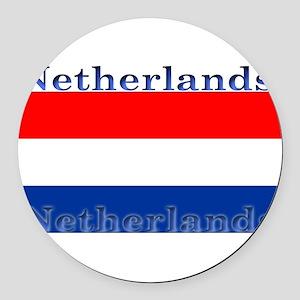 Netherlandsblack Round Car Magnet