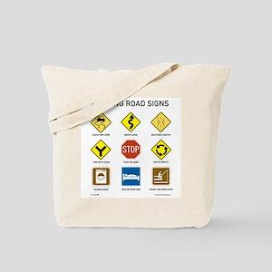 Knitting Road Signs Tote Bag