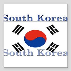 "SouthKorea Square Car Magnet 3"" x 3"""