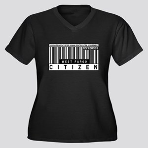 West Fargo Citizen Barcode, Women's Plus Size V-Ne