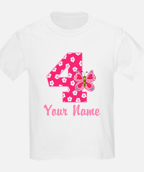 4th Birthday Butterfly T-Shirt