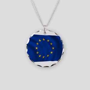 European Union Flag Necklace Circle Charm