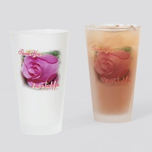 Rose Bud Thank You Drinking Glass