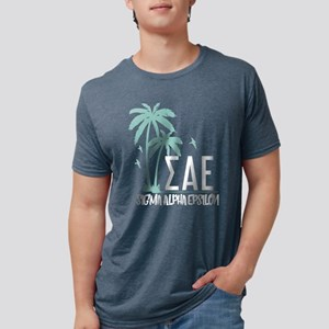 Sigma Alpha Epsilon Palm Tr Mens Tri-blend T-Shirt