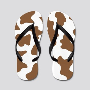 Cow Spots Brown Print Flip Flops