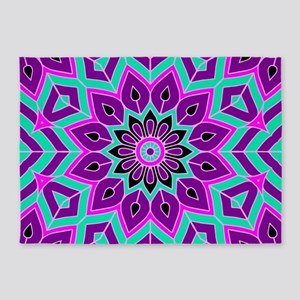 Flower Pink Purple Cyan black manda 5'x7'Area Rug