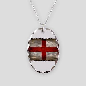 England Flag Necklace Oval Charm