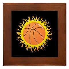 Flaming Basketball Framed Tile