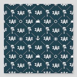 "Sigma Alpha Epsilon Blue Square Car Magnet 3"" x 3"""
