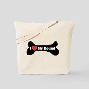 I Love My Hound - Dog Bone Tote Bag