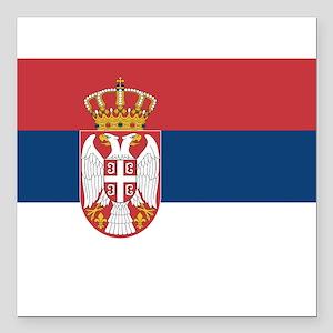 "Serbia Square Car Magnet 3"" x 3"""