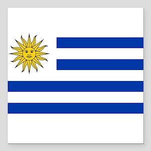 """Uruguay Square Car Magnet 3"""" x 3"""""""