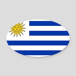Uruguay Oval Car Magnet
