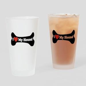 I Love My Hound - Dog Bone Drinking Glass