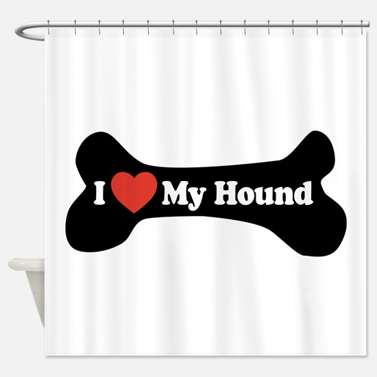 I Love My Hound - Dog Bone Shower Curtain