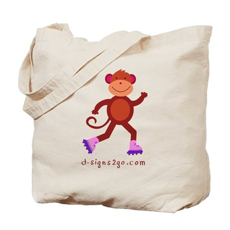 Monkey Rollerblading Tote Bag
