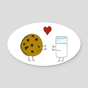Cookie Loves Milk Oval Car Magnet