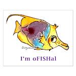 Funny cartoon fish Small Poster