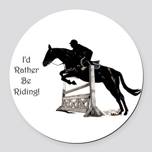 I'd Rather Be Riding Horse Round Car Magnet
