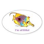 Funny cartoon fish Oval Sticker