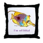 Funny cartoon fish Throw Pillow