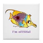 Funny cartoon fish Tile Coaster