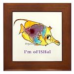 Funny cartoon fish Framed Tile