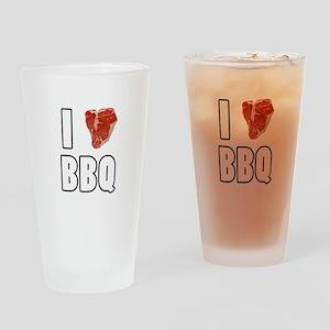 I Heart BBQ Drinking Glass
