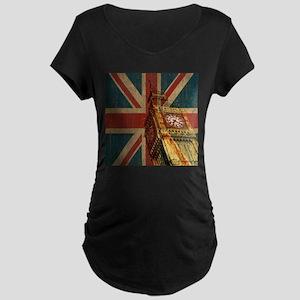Vintage Union Jack Maternity Dark T-Shirt