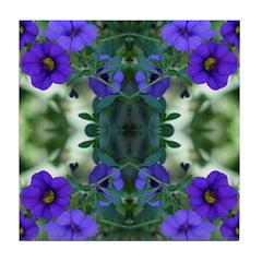 Blue Flower Reflection Tile Coaster