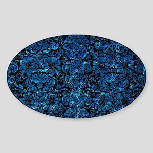 DAMASK2 BLACK MARBLE & DEEP BLUE WA Sticker (Oval)