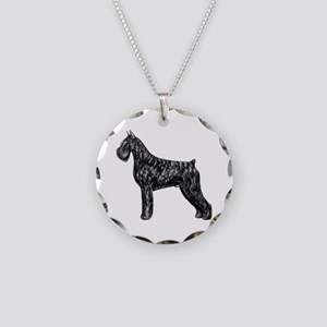 Giant Schnauzer Standing Profile Necklace Circle C