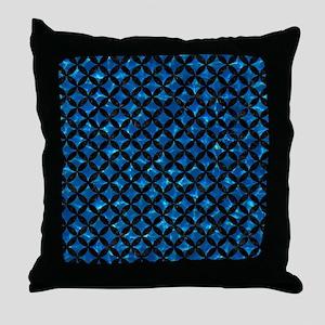 CIRCLES3 BLACK MARBLE & DEEP BLUE WAT Throw Pillow