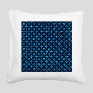 CIRCLES3 BLACK MARBLE & DEEP Square Canvas Pillow