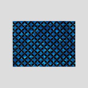 CIRCLES3 BLACK MARBLE & DEEP BLUE W 5'x7'Area Rug
