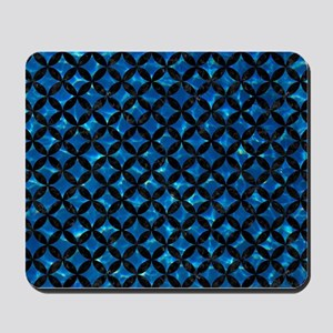 CIRCLES3 BLACK MARBLE & DEEP BLUE WATER Mousepad