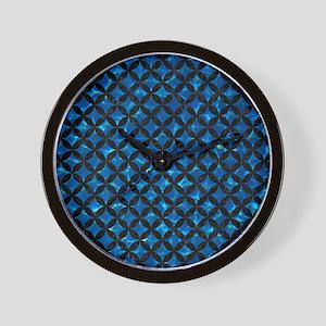 CIRCLES3 BLACK MARBLE & DEEP BLUE WATER Wall Clock